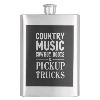Country Music, Cowboy Boots & Pickup Trucks Hip Flask