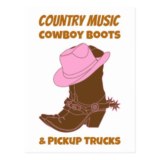 Country Music Cowboy Boots Pickup Trucks Postcard