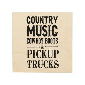 Country Music, Cowboy Boots & Pickup Trucks Wood Print