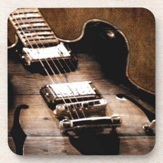 Country Music Guitar On Leather Background Drink Coasters