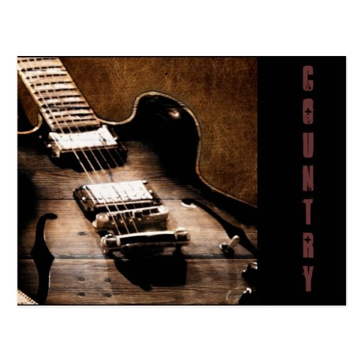 Country Music Guitar On Leather Background Postcards