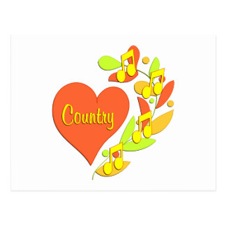 Country Music Heart Post Cards