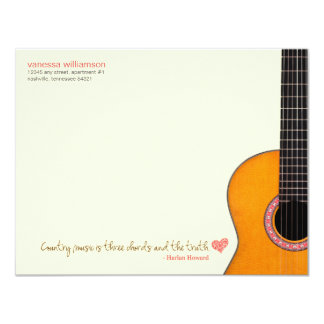 'Country Music is Three Chords' Note Cards (CMAs) 11 Cm X 14 Cm Invitation Card