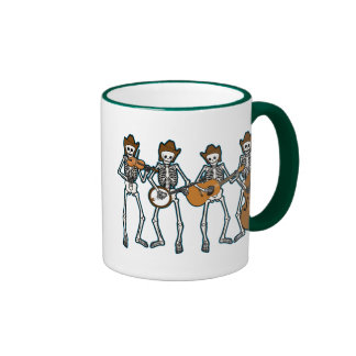 Country Music Playing Skeletons Coffee Mugs
