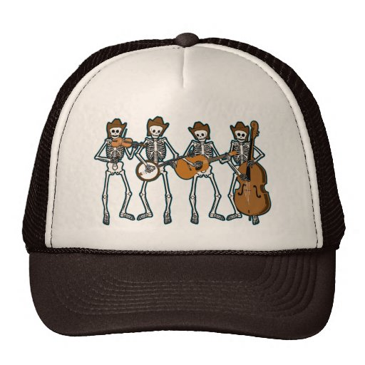 Country Music Playing Skeletons Hat
