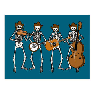 Country Music Playing Skeletons Post Card