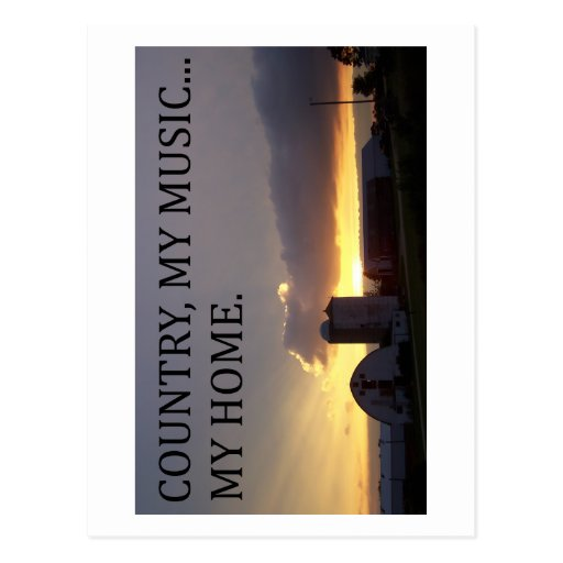 Country My Music My Home Postcards