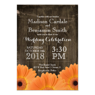 Country Orange Daisies Rustic Wood Wedding Invites