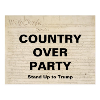 Country Over Party Stand Up to Trump Resistance Postcard