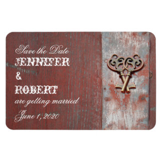 Country Painted Wood Keys Wedding Save the Date Rectangle Magnets
