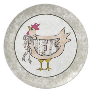 Country Patchwork Chicken Plate