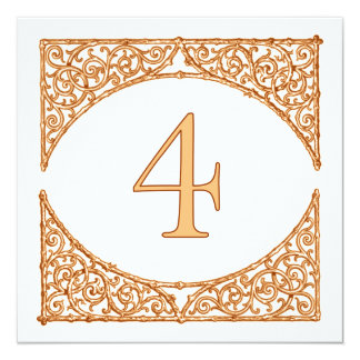 Country Peach & Brown Wood Screen Table Number 4 13 Cm X 13 Cm Square Invitation Card