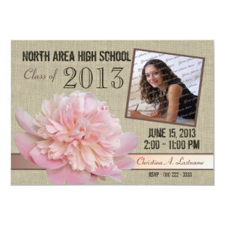 Country Peony Graduate Photo Card