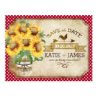 Country Picnic Sunflower Gingham Save the Date Postcard