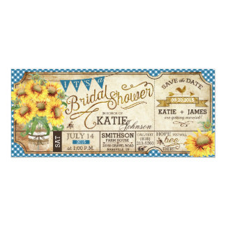 Country Picnic Sunflowers Rustic Bridal Shower 10 Cm X 24 Cm Invitation Card