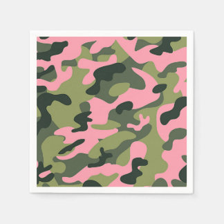 Country Pink Green Army Camo Camouflage Birthday Disposable Serviette