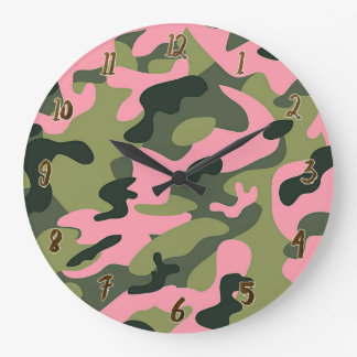 Country Pink Green Army Camo Camouflage Pattern Large Clock