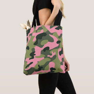 Country Pink Green Army Camo Camouflage Pattern Tote Bag