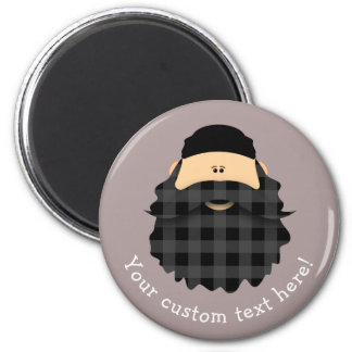 Country Plaid Black Bearded Character Magnet
