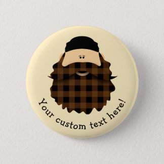 Country Plaid Chocolate Brown Bearded Character 6 Cm Round Badge