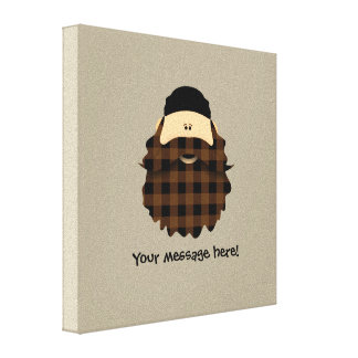 Country Plaid Chocolate Brown Bearded Character Canvas Print