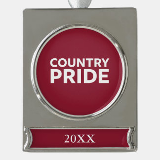 Country Pride Silver Plated Banner Ornament