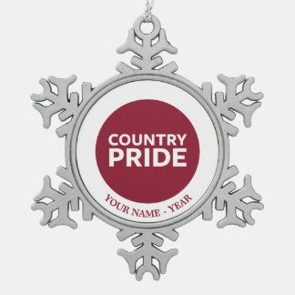 Country Pride Snowflake Pewter Christmas Ornament