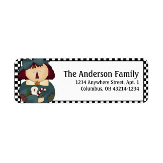 Country/Prim Christmas Annie Address Labels