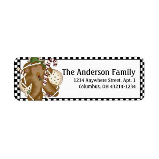 Country Prim Christmas Gingerbread Address Labels