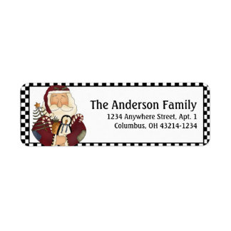 Country Prim Christmas Santa Address Labels d2
