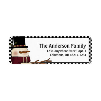 Country Prim Christmas Snowman Address Labels