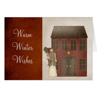 Country Prim Snowman Saltbox House Design Greeting Cards
