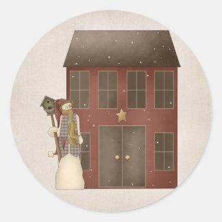 Country Prim Snowman & Saltbox House Design Classic Round Sticker