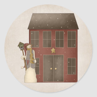 Country Prim Snowman & Saltbox House Design Round Sticker