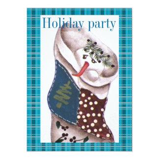 "Country Primitive Snowman in Stocking 5.5"" X 7.5"" Invitation Card"