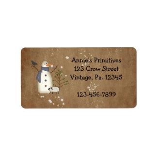 Country Primitive Snowman Label