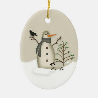 Country Primitive Snowman Ornament