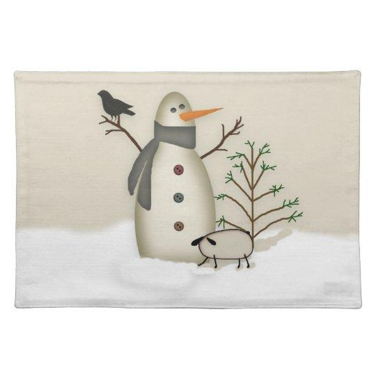 Country Primitive Snowman Placemat
