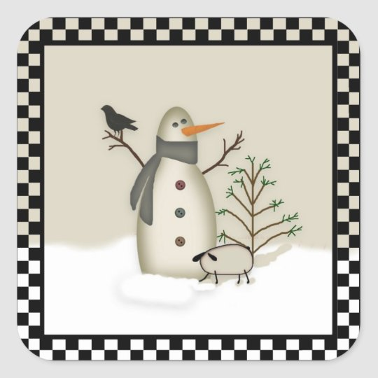 Country Primitive Snowman Sticker