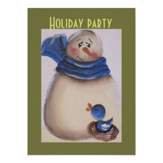 Country Primitive Snowman with Blue Bird 14 Cm X 19 Cm Invitation Card