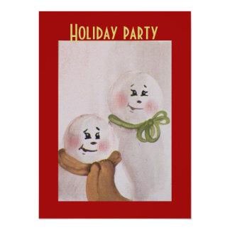 "Country Primitive Snowmen Christmas 5.5"" X 7.5"" Invitation Card"