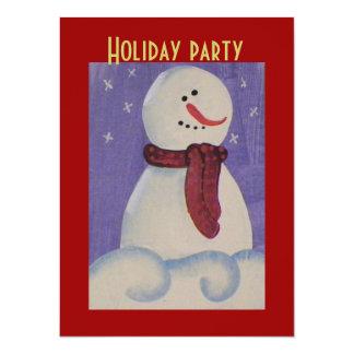Country Primitive Snowmen Christmas 14 Cm X 19 Cm Invitation Card