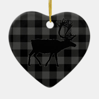 Country red and black plaid - elk christmas ornament