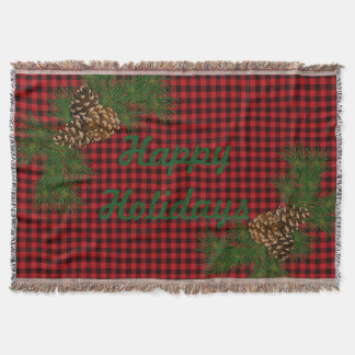 Country red and black plaid pine cone throw blanket