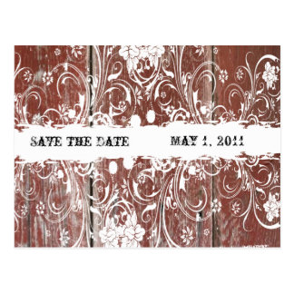 Country Red Barn Wood Save the Date Post Card