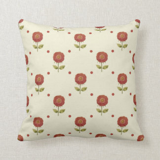 Country Red Flower Print Pillow