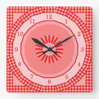 Country Red Gingham Checks Square Wall Clock