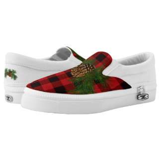 Country red plaid pine cone printed shoes