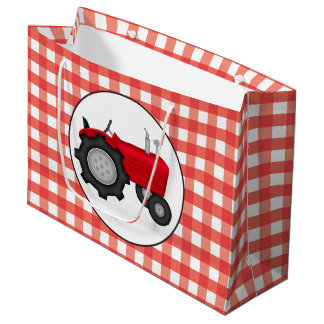 Country red tractor party gingham style bag