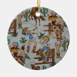 Country Retro Christmas Cowgirls Round Ceramic Decoration